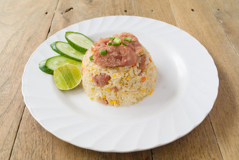 Stir-fried rice with shredded and salted pork stock image