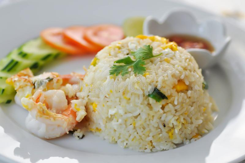 Stir-fried rice with shrimp and vegetable stock photography