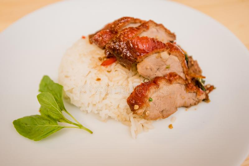 Stir-fried roasted duck and basil and fried egg with rice, Thai. Food stock images