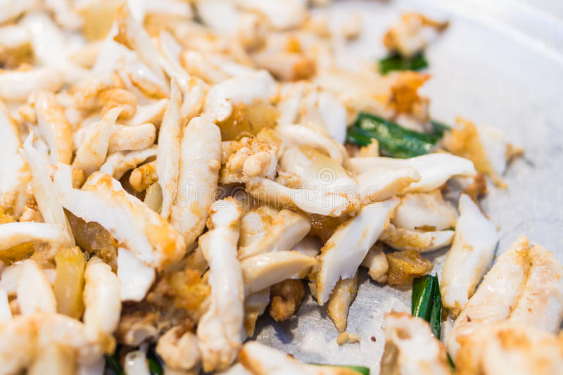 Stir-fried salted egg with squid ,Fried squid eggs stock photo