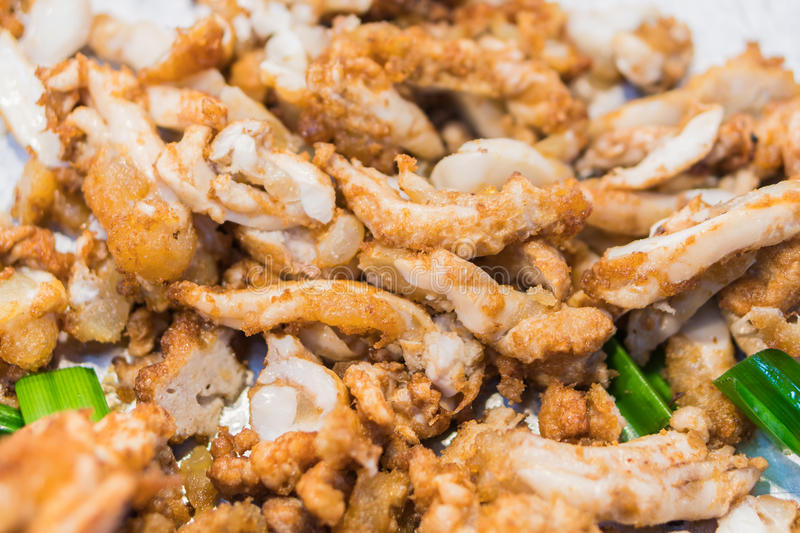 Stir-fried salted egg with squid ,Fried squid eggs royalty free stock photos