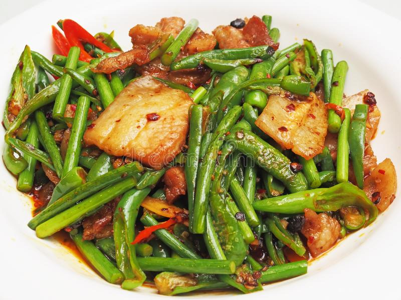 Stir fried shredded pork with vegetables stock photo