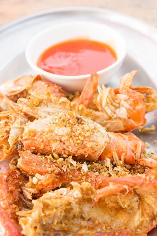 Stir fried shrimp with garlic stock image