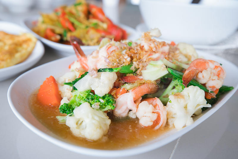 Stir fried shrimp. Healthy food, vegetable and meal food, Thaifood and Chinesefood royalty free stock photos