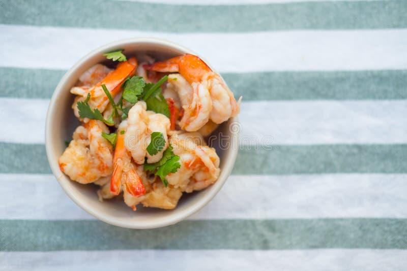 Stir fried shrimp with sweet sauce royalty free stock photo