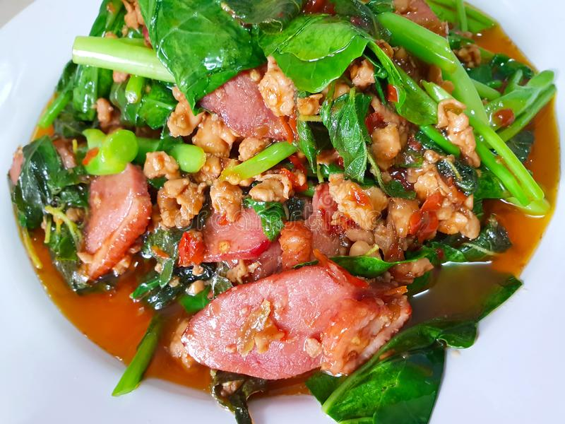 Stir fried smoked duck breast spicy the delicious Thai food royalty free stock images