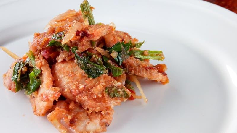 Stir fried spicy pork. Stir fried spicypork thaifood royalty free stock images