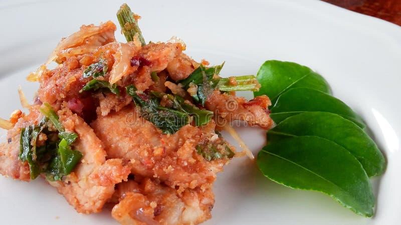 Stir fried spicy pork. Stir fried spicypork thaifood stock photo