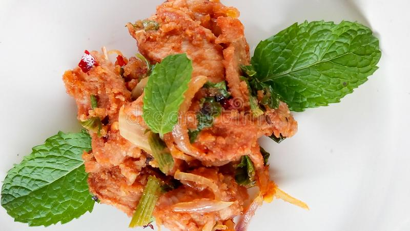Stir fried spicy pork. Stir fried spicypork thaifood stock image