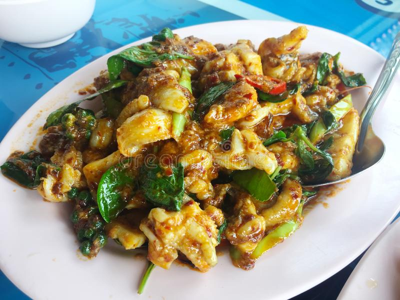 Stir Fried Squid with red Curry. Stir Fried Squid with red  Curry royalty free stock photography