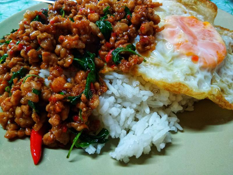 Stir fried Thai basil with minced pork and a fried egg, Over medium egg. Food, delicious, main, thailand, thaifood, madeinthai, ingredients, delivery, express stock image
