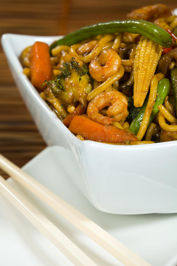 Stir fried with vegetable and shrimp. Stir-fry with vegetable and shrimp. Very shallow depth of field stock image