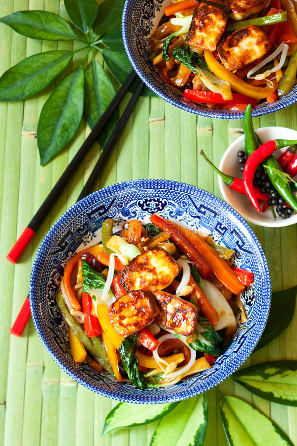 Stir-fried vegetables. With tofu royalty free stock photos