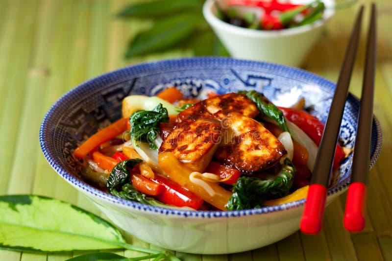 Stir-fried vegetables. With tofu stock photos