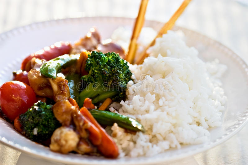Stir Fried Vegetables and Chicken royalty free stock image