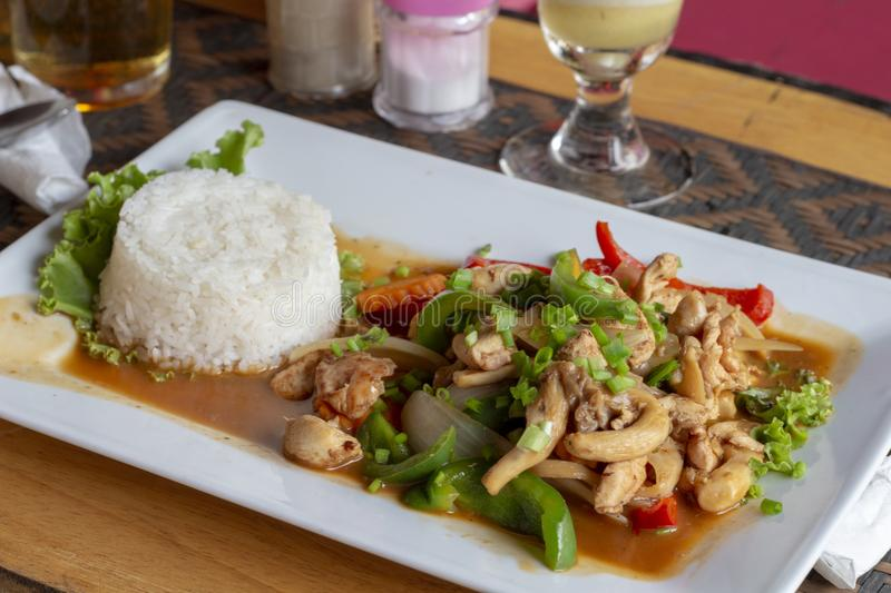 Stir fried vegetables and mushrooms with steamed rice on plate. Restaurant lunch serve in asian style. Cambodian cuisine dish. Vegetables in spicy sauce for royalty free stock photos