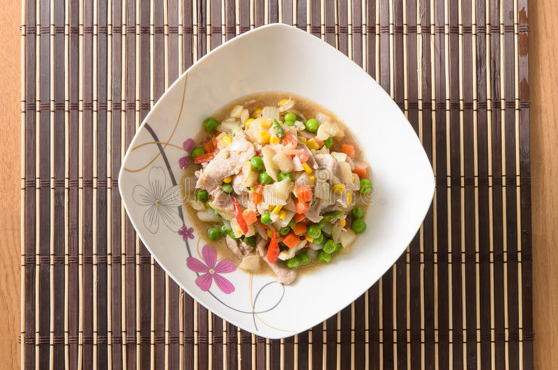 Stir fried vegetables with pork royalty free stock photos