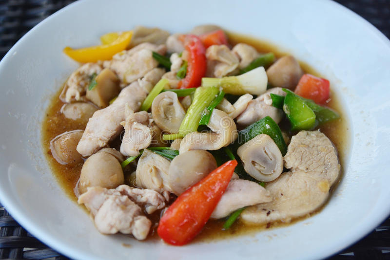 Stir fried vegetables with pork royalty free stock images