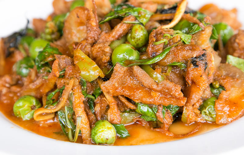 Stir Fried Wild Boar with Red Curry. / Stir Fried Wild Boar royalty free stock images