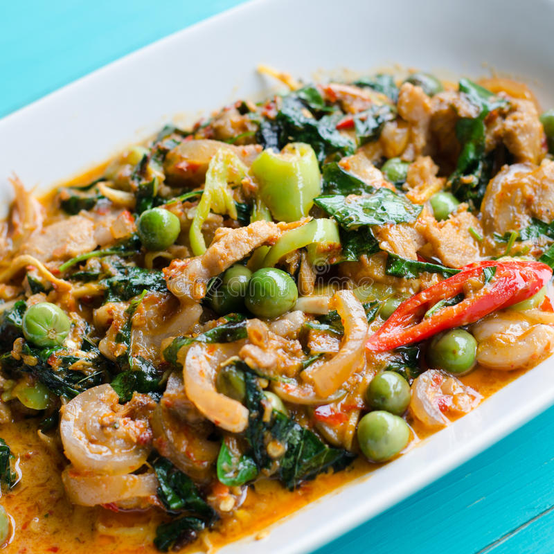 Stir Fried Wild Boar with Red Curry. Thaifood stock photography