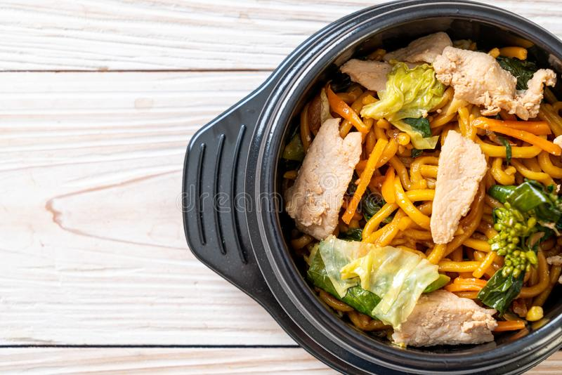 stir-fried yakisoba noodles with chicken royalty free stock photography