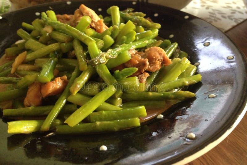 Stir fry asparagus stock photo