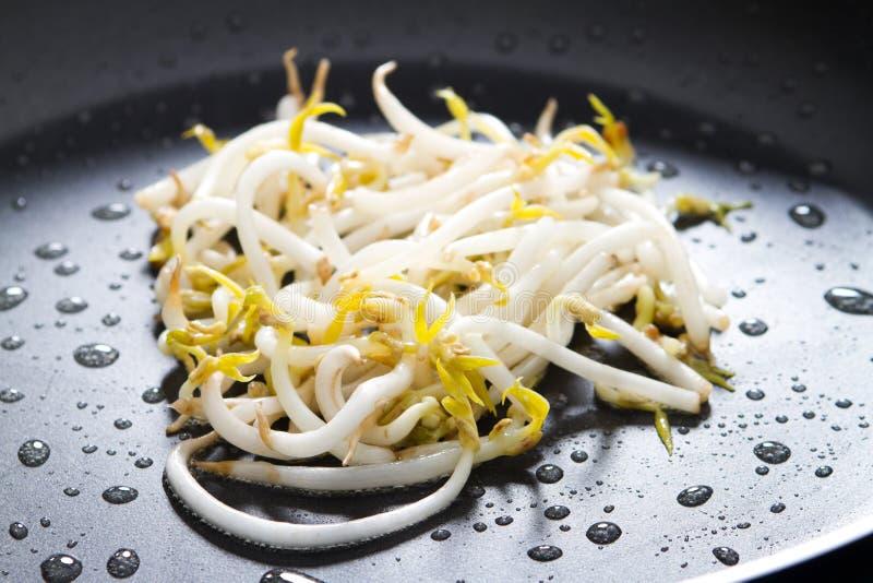 Stir fry bean sprout. In frying pan stock photos
