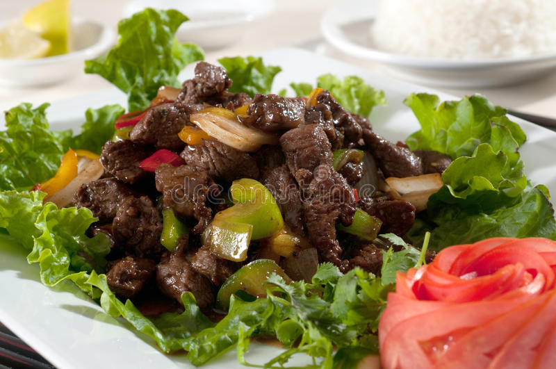 Stir fry beef. With mixed vegetables stock image