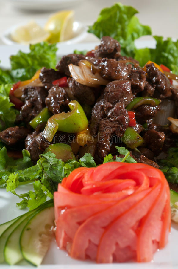Stir fry beef. With mixed vegetables stock images