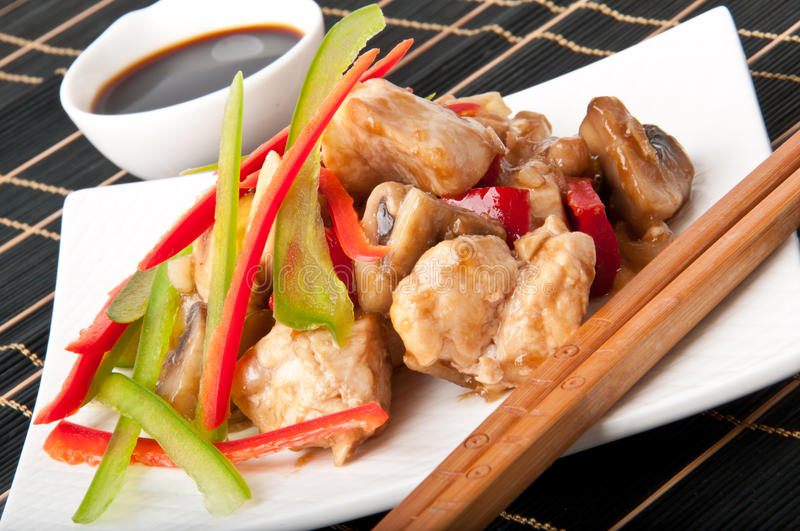 Stir fry chicken. With sweet peppers and mushrooms royalty free stock photos