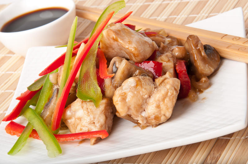 Stir fry chicken. With sweet peppers and mushrooms royalty free stock images