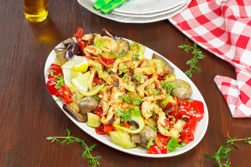 Stir Fry Chicken. Chicken and vegetable Stir Fry on table, ready to eat stock image