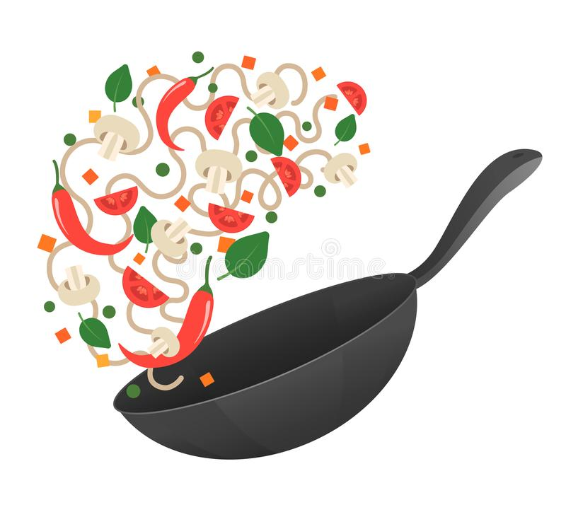 Stir fry. Cooking process vector illustration. Flipping Asian noodles in a pan. Cartoon style. Flat royalty free illustration