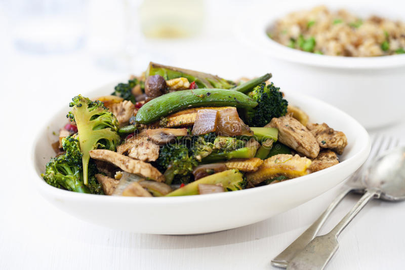 Stir fry dinner. With chicken and broccoli stock images