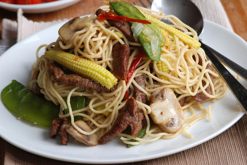 Stir-fry with noodles. Stir-fried pork with egg noodles on a plate stock photography