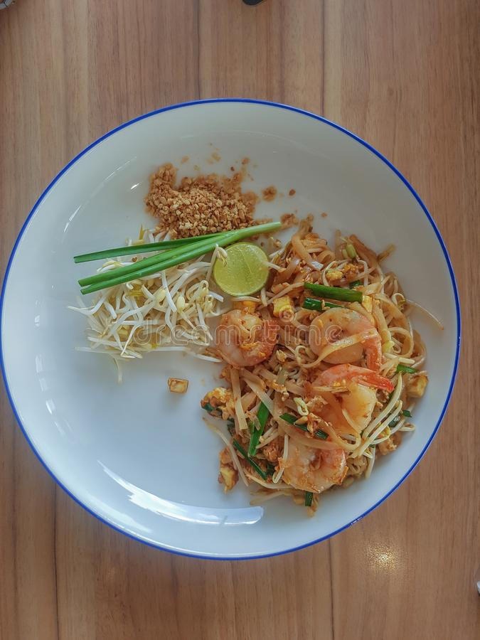 Stir-fried rice noodles Pad -Thai. Stir fry noodles with shrimp in Pad Thai,Thai style food royalty free stock photography