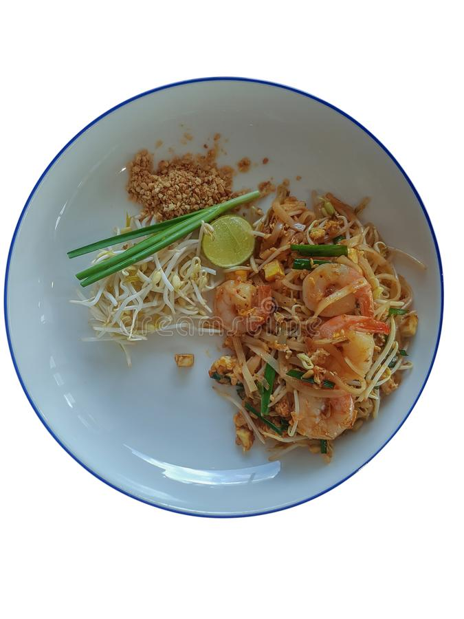 Stir-fried rice noodles Pad -Thai on white isolated background. Stir fry noodles with shrimp in Pad Thai with white background,Thai style food with isolated royalty free stock photo
