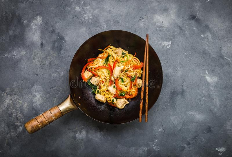 Stir fry noodles stock photo