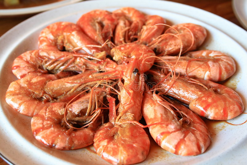 Stir fry prawn. A plate of stir fry prawn stock photo
