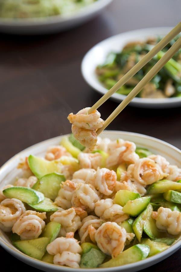 Stir-fry shrimp. Chinese food, stir-fry shrimp with vegetable royalty free stock images