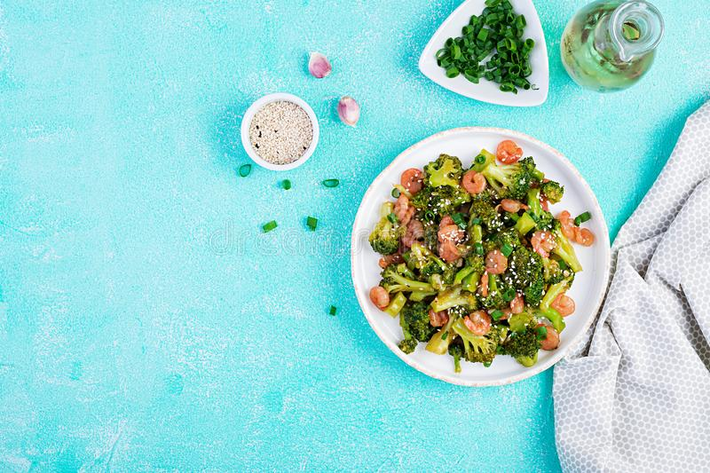 Stir fry shrimp with broccoli close up on a plate. stock photo