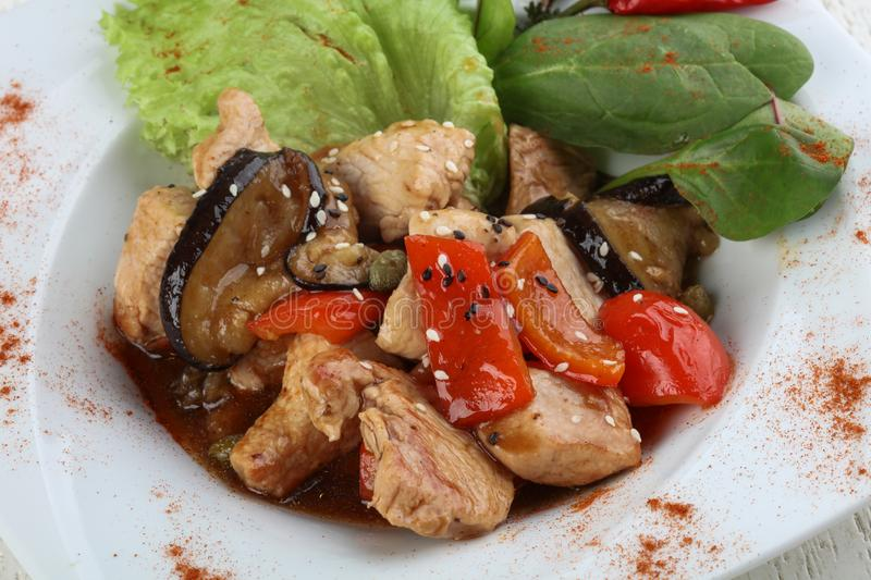 Stir-fry turkey breast. With vegetables and oyster sauce royalty free stock photo