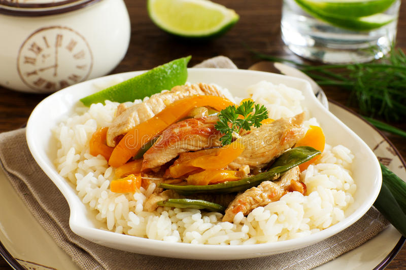 Stir-fry with Turkey. And vegetables stock photo