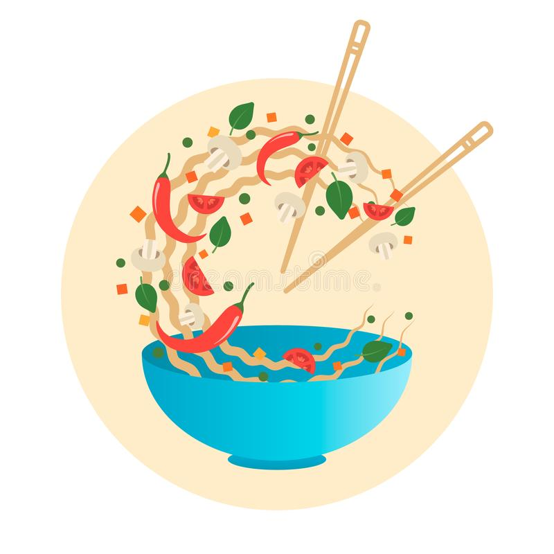Stir fry vector illustration. Flipping Asian noodles with vegetables in a blue bowl. Cartoon style vector illustration