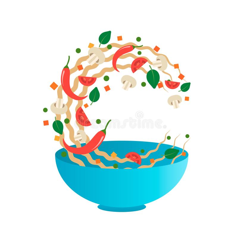 Stir fry vector illustration. Flipping Asian noodles with vegetables in a blue bowl. Cartoon style stock illustration