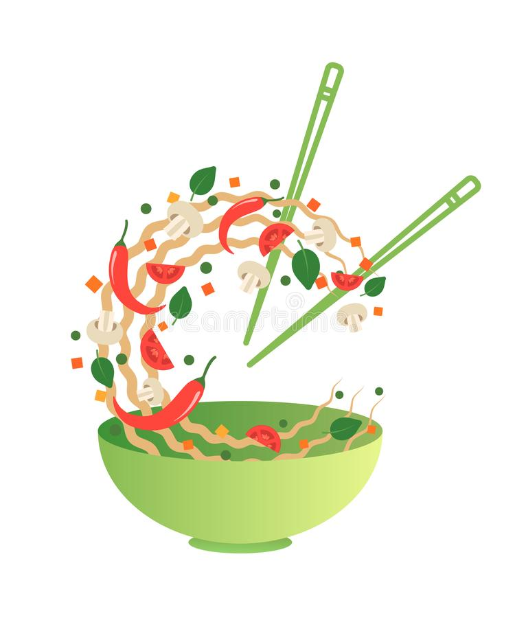 Stir fry vector illustration. Flipping Asian noodles with vegetables in a green bowl. Cartoon style vector illustration