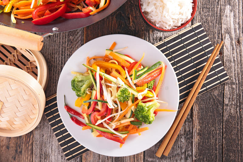 Stir fry vegetables. Top view royalty free stock images