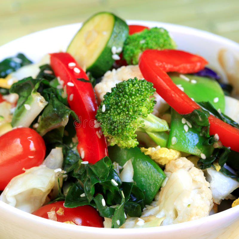Stir Fry Vegetables. Topped with sesame seeds stock photo