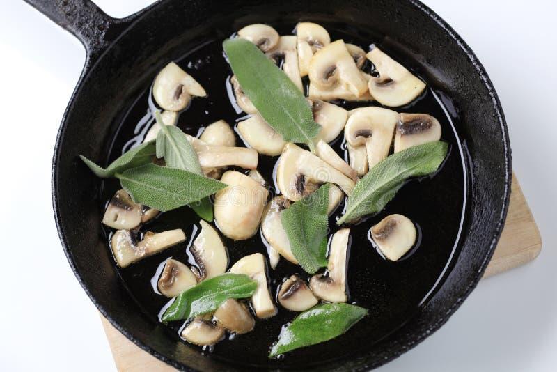 Download Stir frying mushrooms stock photo. Image of leaves, mushrooms - 19683588