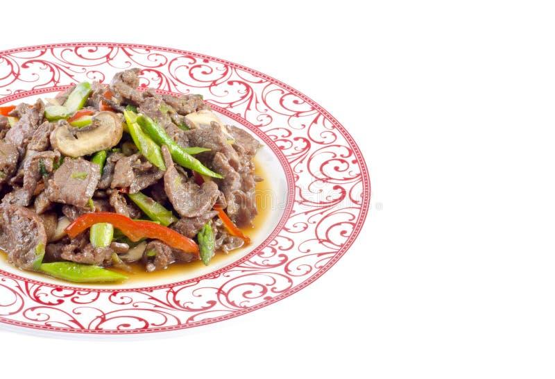 Stir-Gebratenes Rindfleisch mit Gemüse auf einer Platte stockbilder